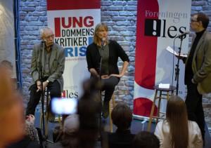 Nina Lykke og Kjartan Hjartøy møter juryelever før utdelingen