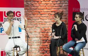 FORFATTERMØTE: Demian Vitanza i intervjues av elever fra Oslo By Steinerskole. Foto Vibeke Røgler, Foreningen !les